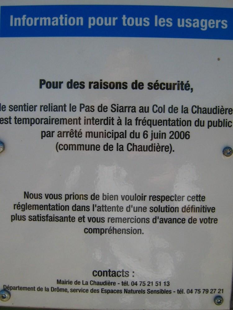 Panneau d'avertissement à la Chaudière (1)