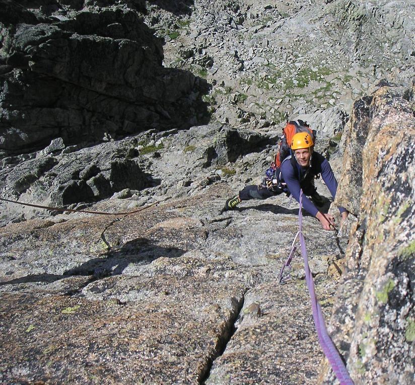 Aiguille de la Cabane- Bon Accueil - Dièdre du haut