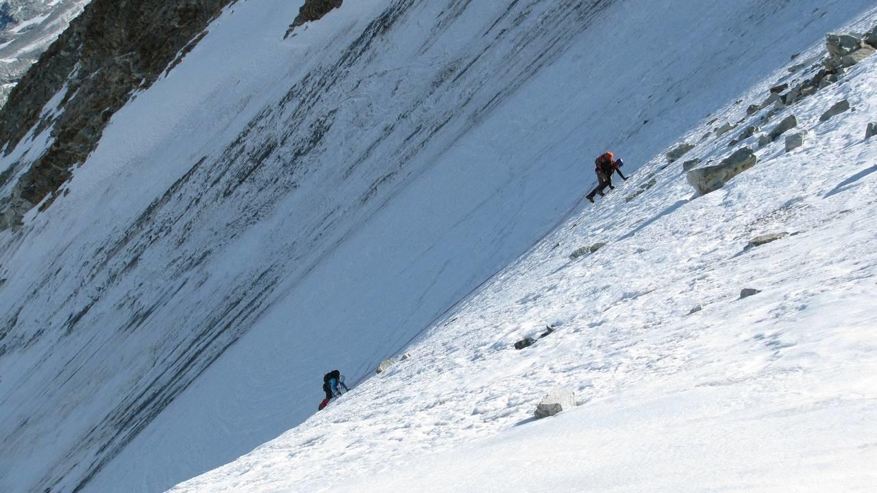 Le mur de glace à l'approche du col Durand