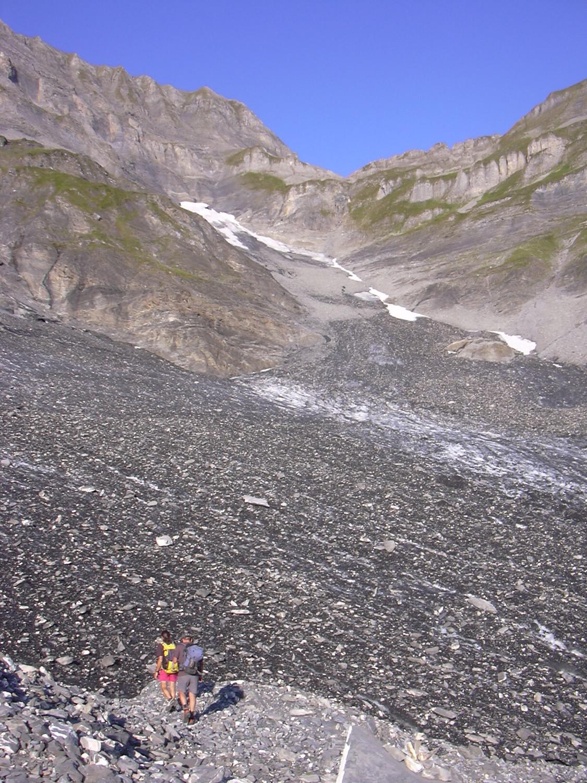 en bas du glacier de Finive