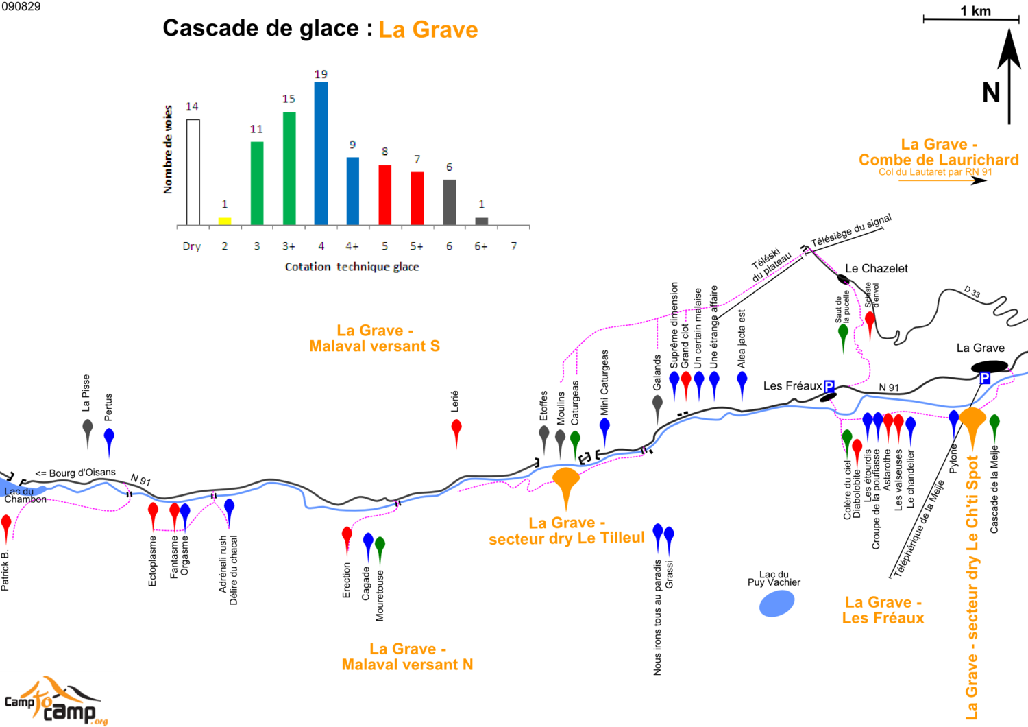 Ice climbing in La Grave - Map of routes and areas