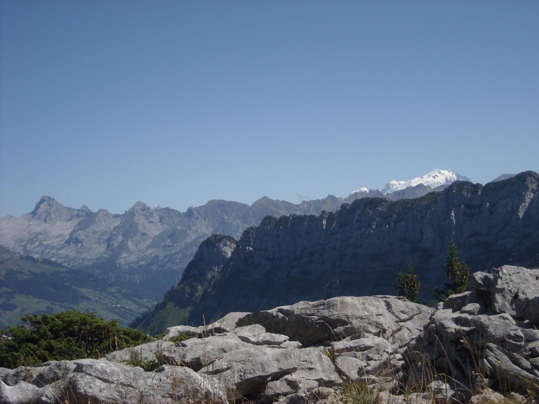Les Aravis et le Mont-Blanc (vue prise entre la Buffaz et l'Ovine).