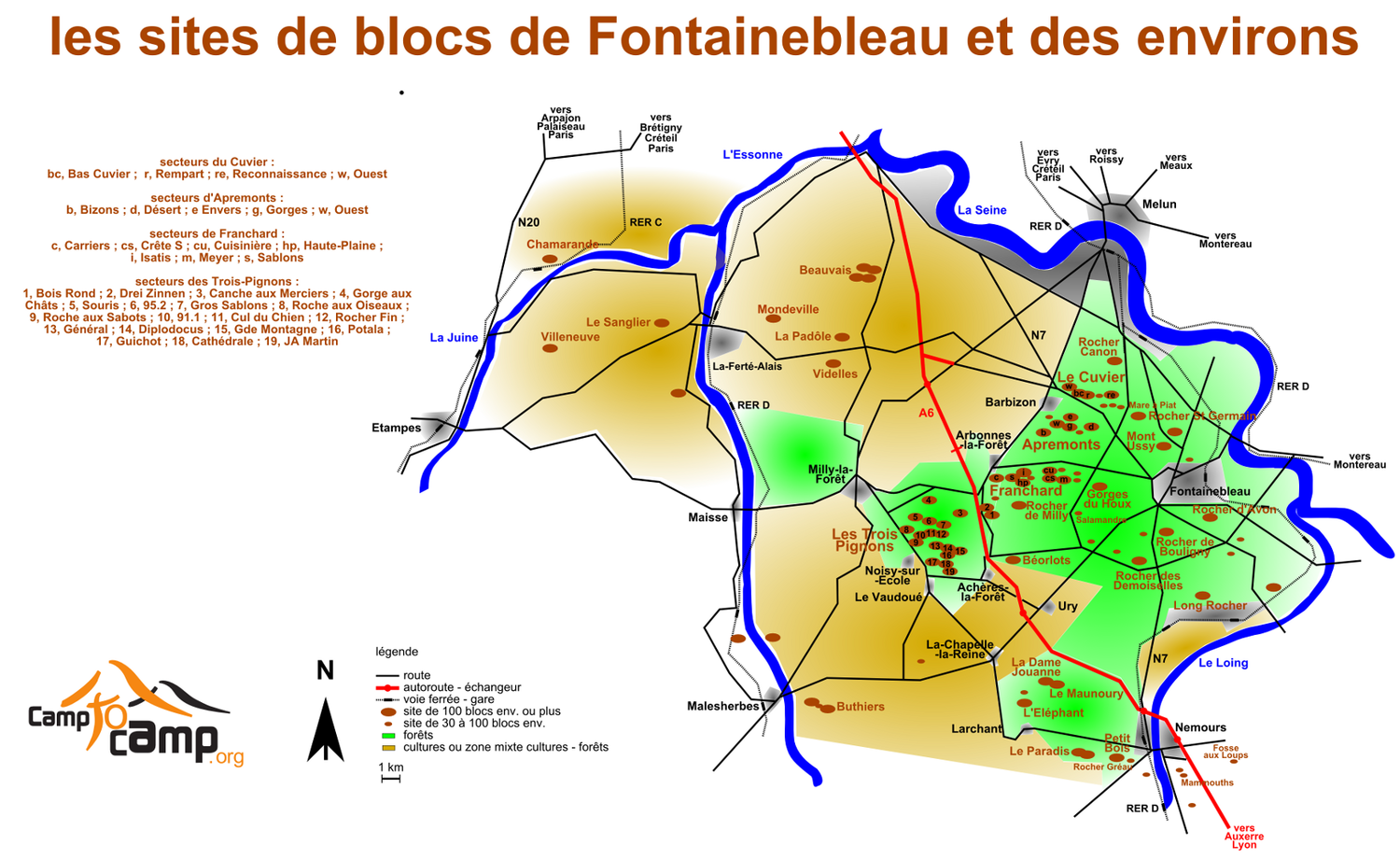Principaux sites de blocs de Fontainebleau (version 12/09/09)