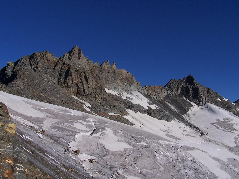 Ptes de Labby et du Génépy , glacier de la Mahure, vu du col de Labby