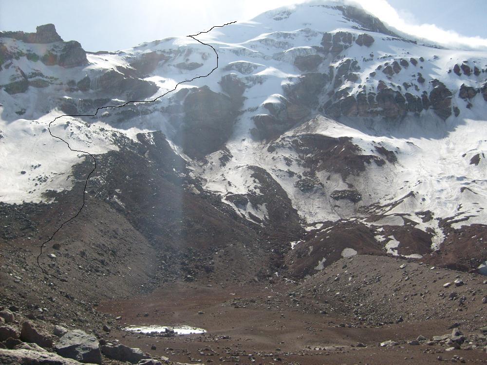 L'itiniraire, on ne voit pas le sommet mais la Cumbre Ventemilla, le sommet étant derrière sur la droite.