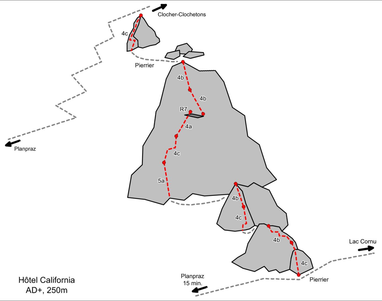 """Schéma de la voie """"Hôtel California"""" - Planpraz"""