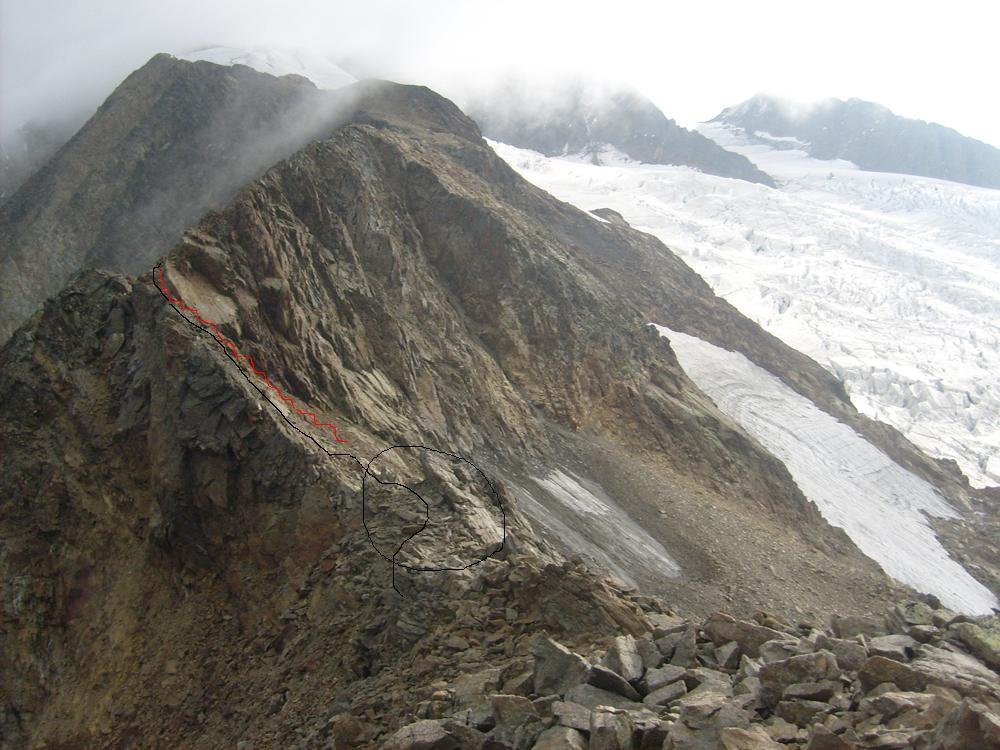 Cercle noir: col des Glaciers, d'où part le bon chemin descendant. En rouge direction chemins merdiques! Trait noir tracé du parcour d'arête