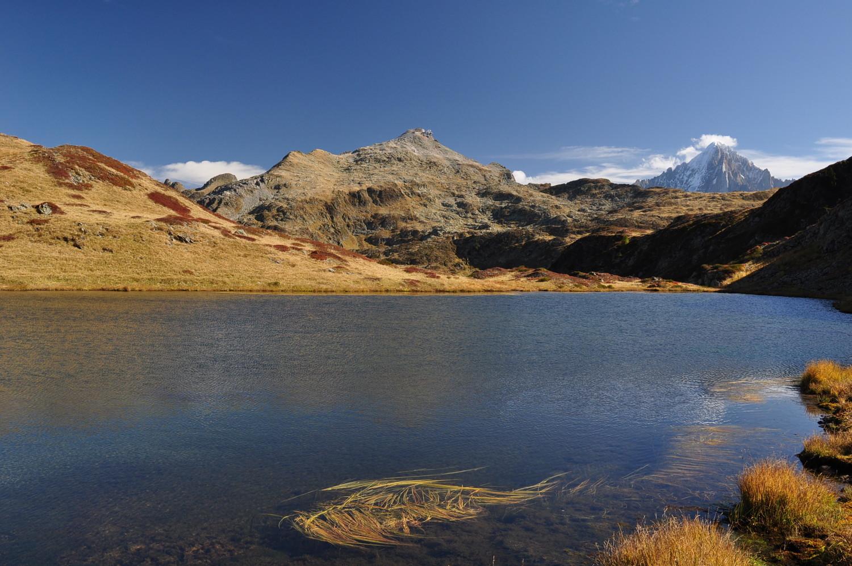 Le Brévent et la Verte au lac de l'Aiguillette