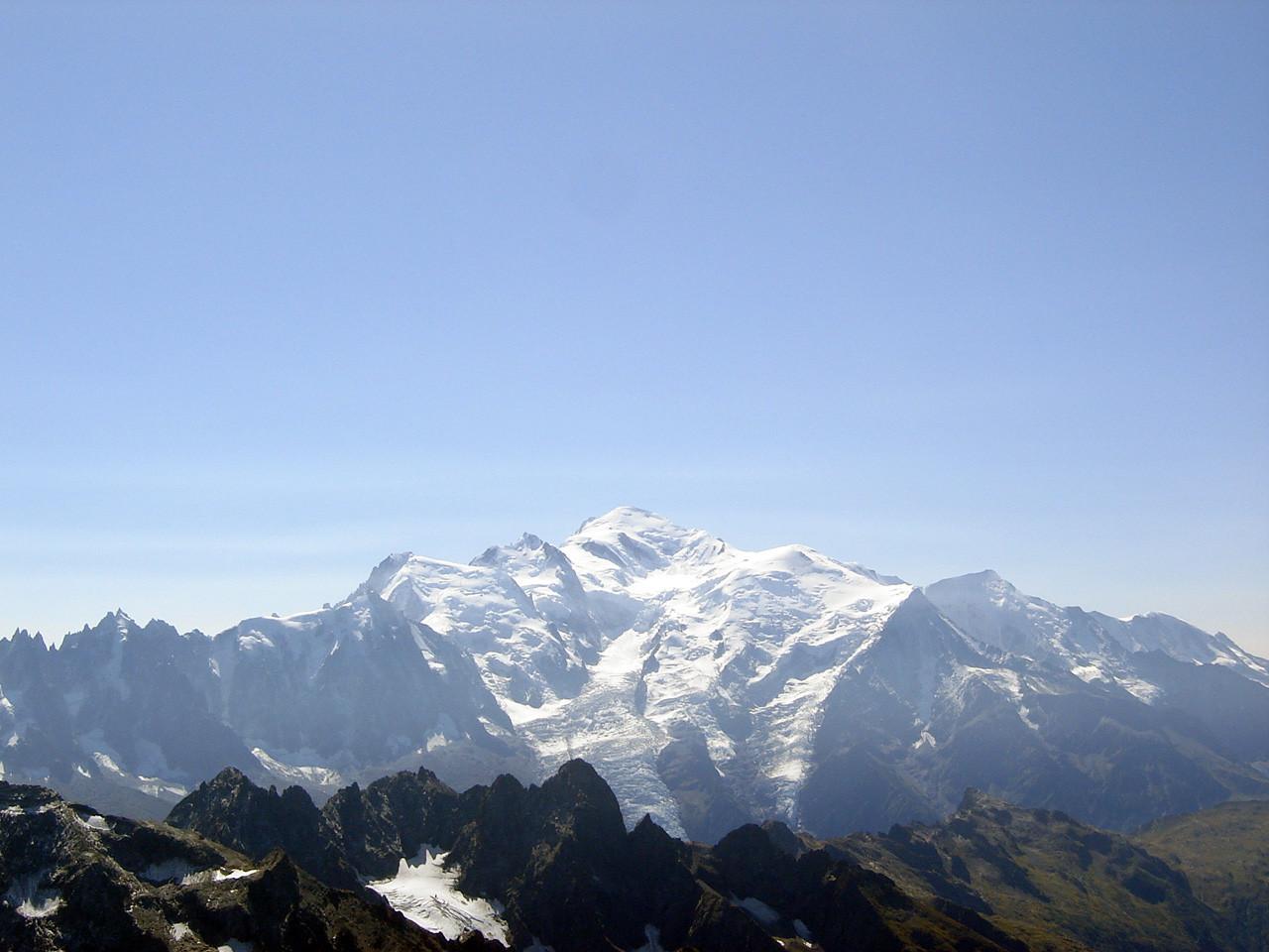 Panorama sur Massif du Mont-Blanc : Classique ! Observation du prochain objectif: Mont Blanc du Tacul