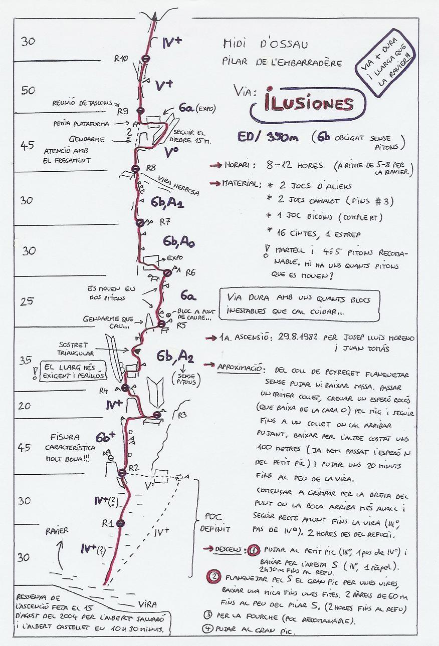 Topo : Pic du Midi d'Ossau, Pilier de l'Embarradère - Ilusiones