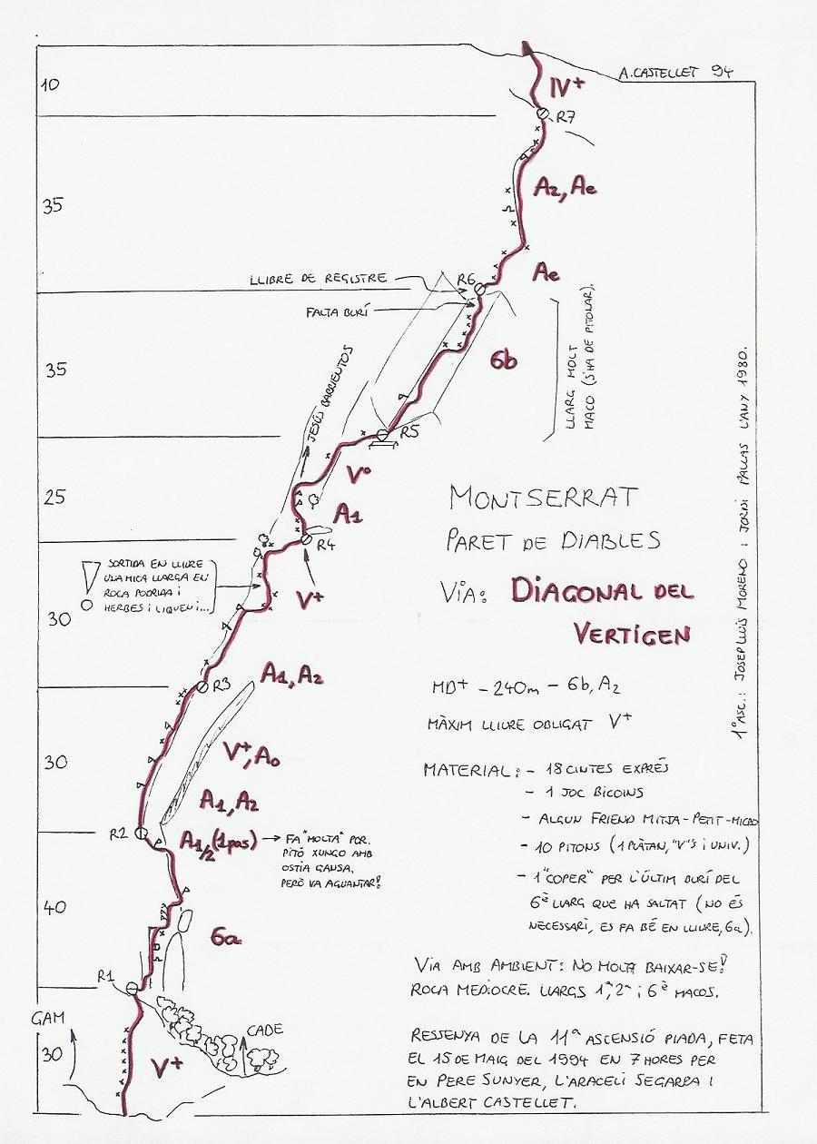 Topo Montserrat - Paret de Diables : Diagonal del Vertigen
