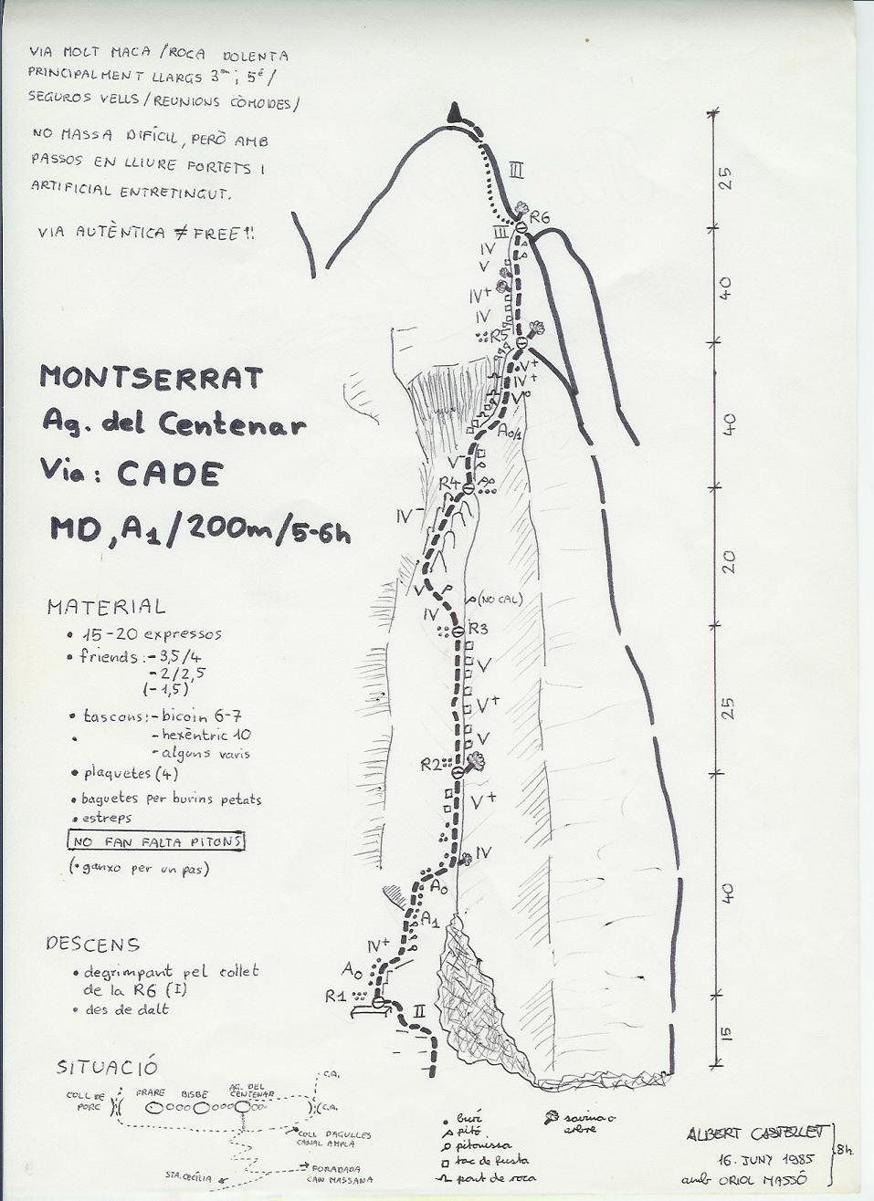 Topo Montserrat - Paret N d'Agulles : Agulla Centenar, CADE