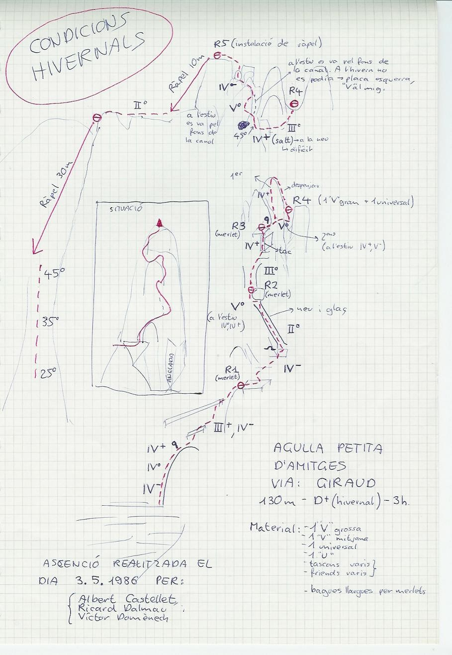 Topo Amitges - Petite aiguille, voie Giraud
