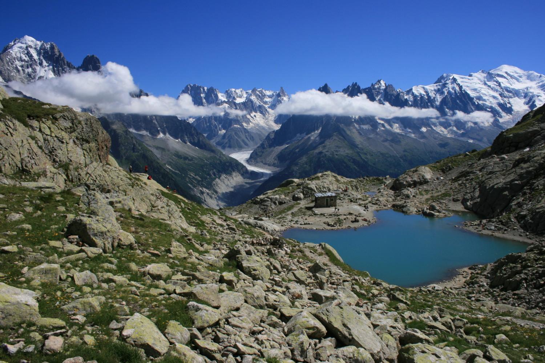 Le massif du Mont Blanc depuis le Lac Blanc