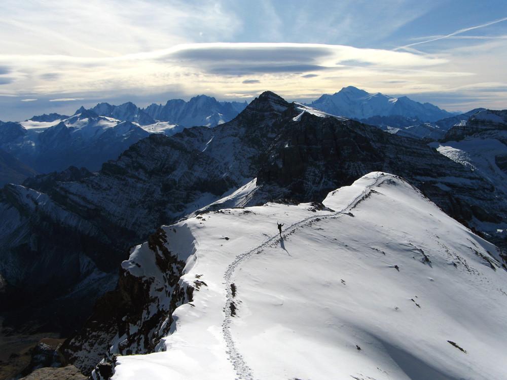 Le col des Paresseux, la Tour Sallière, le massif du Mont Blanc