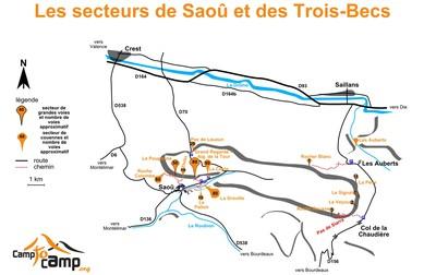 Accès aux secteurs de Saoû et Trois-Becs
