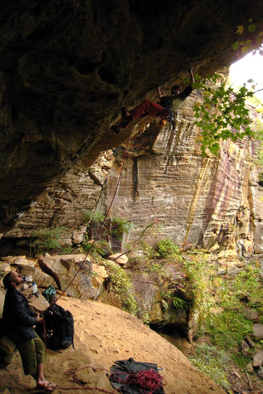 Horn (5.11c), Bob Marley Crag, Red River Gorge, USA