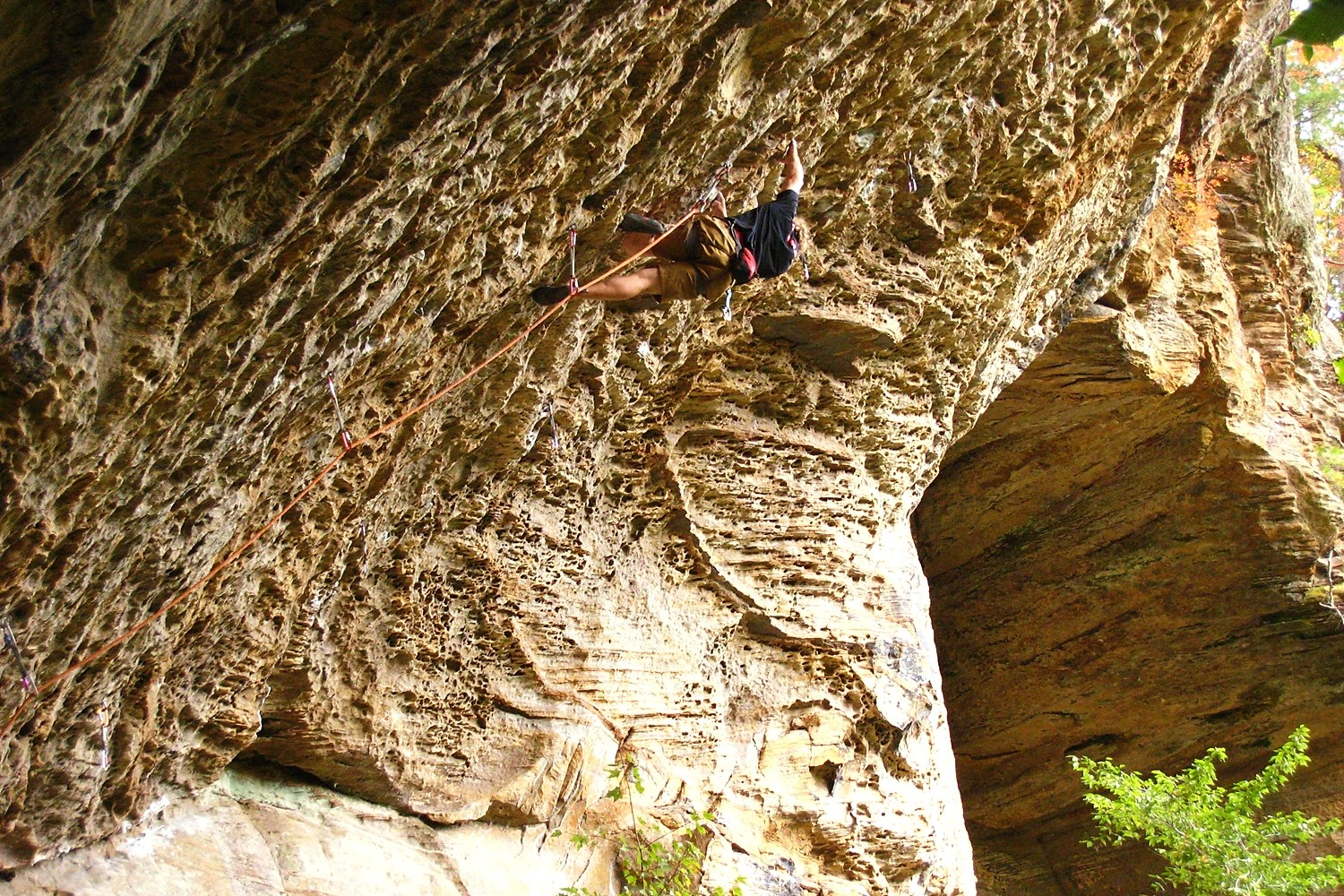 Seven Smoke (5.14bc), Bob Marley Crag, Red River Gorge, USA