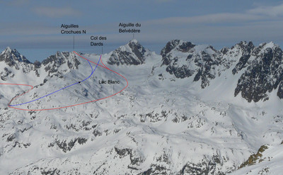 Col des Dards and Aiguille N des Crochues (red by Lac Blanc, blue shorter ascent)