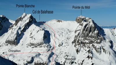 Combe de Balafrasse : versant SE en hiver