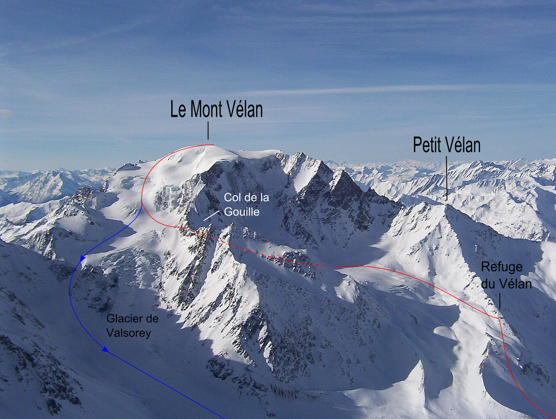 Le Mont Vélan : Voie Normale (tracé rouge) Variante descente (tracé bleu)