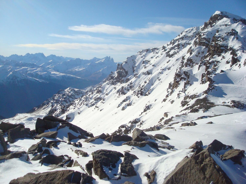 Cime de Caron versant Sud:  Aiguilles d'Arve, Pic de la Meije