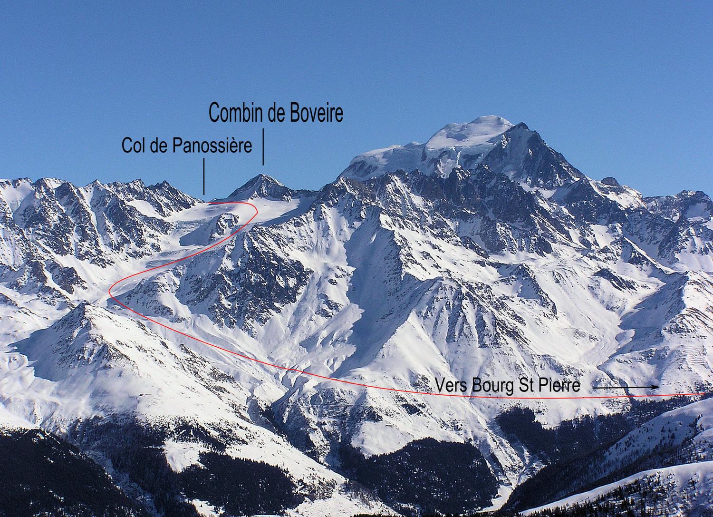 Descente par le glacier de Boveire depuis le col de Panossière