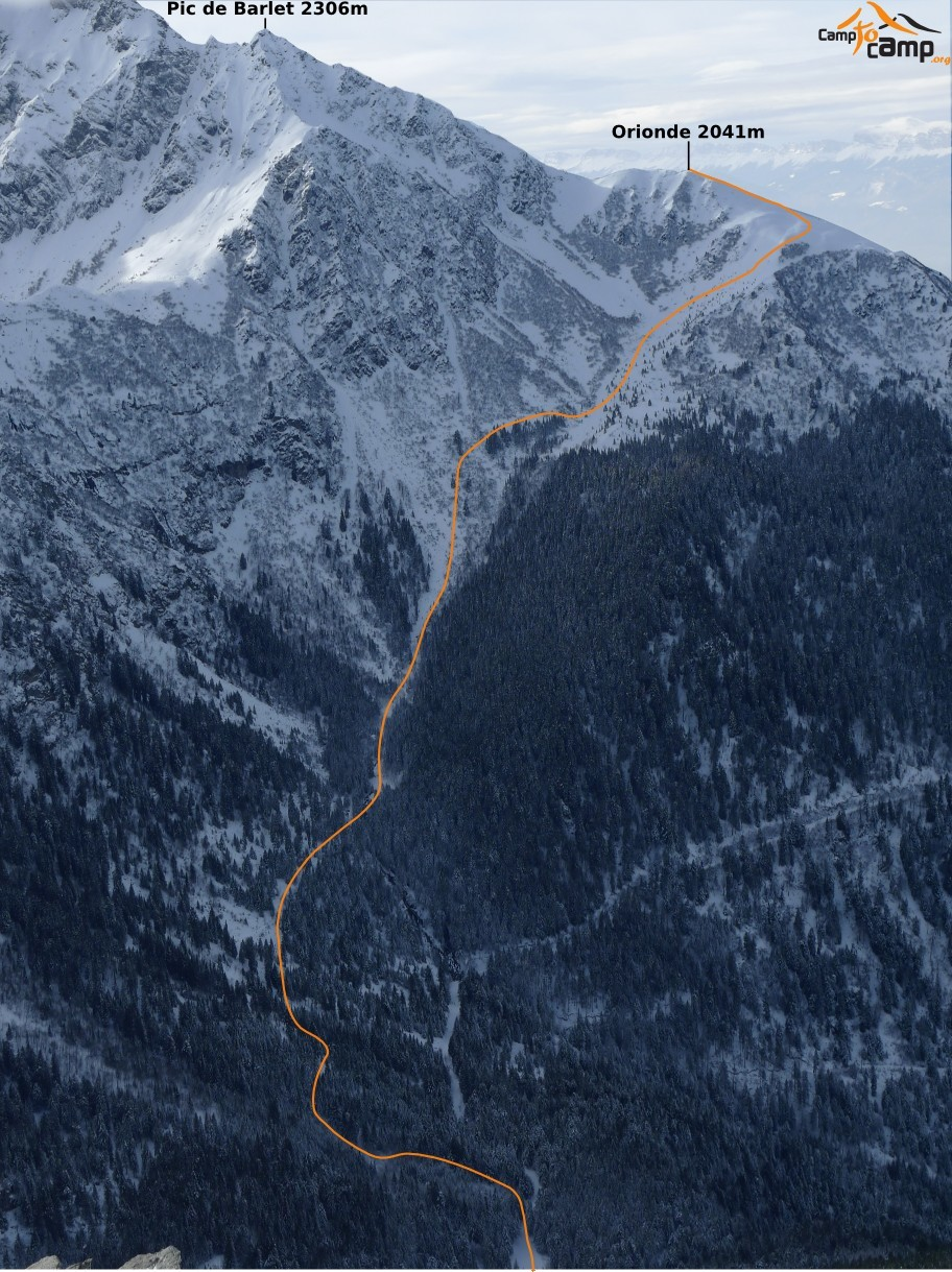 Itinéraire versant NE Orionde