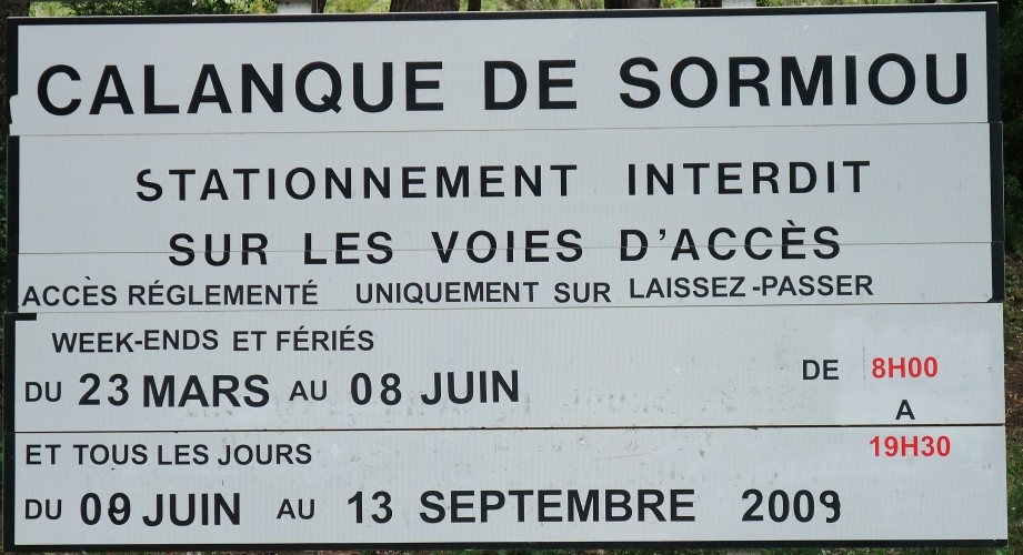 Restriction d'accès routier à Sormiou