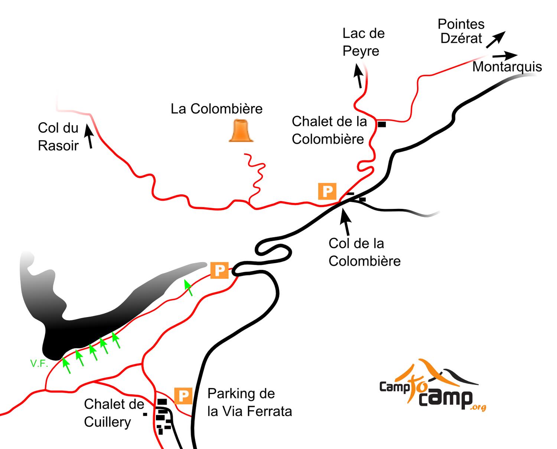 Topo : accès au Jallouvre, Colombière et Dzérat