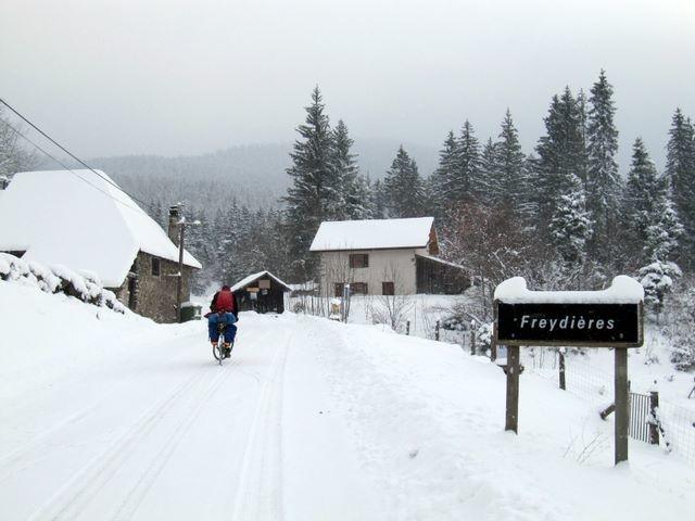 Arrivée à Freydières à vélo le 19 décembre
