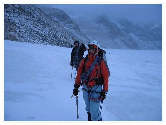 Gore tex de rigueur sur le Glacier Blanc