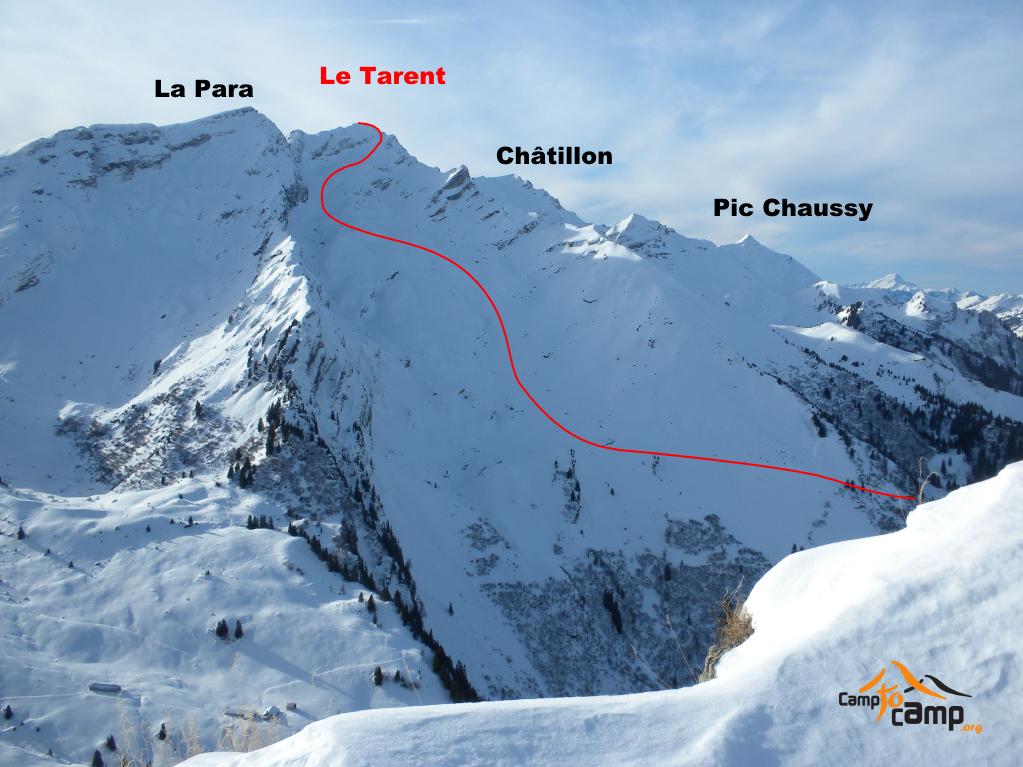 Itinéraire du Tarent, vu de la Tête à Josué