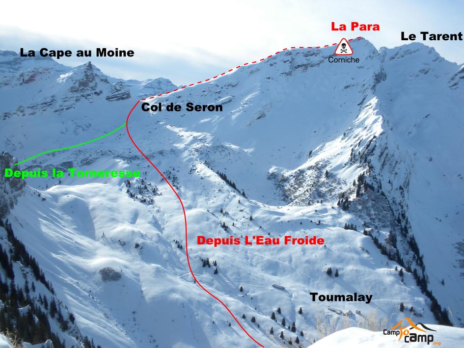 Itinéraires de la Para versant N, vu depuis la Tête à Josué