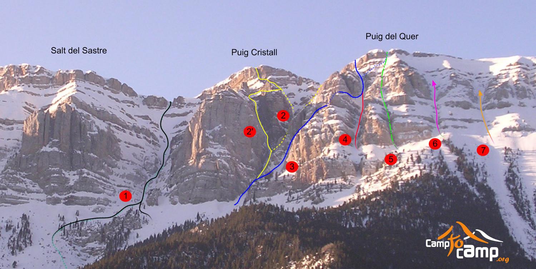 Topo : Canal Cristall, Ordiguer, Amagada, Sabat, del Tronc, Tico