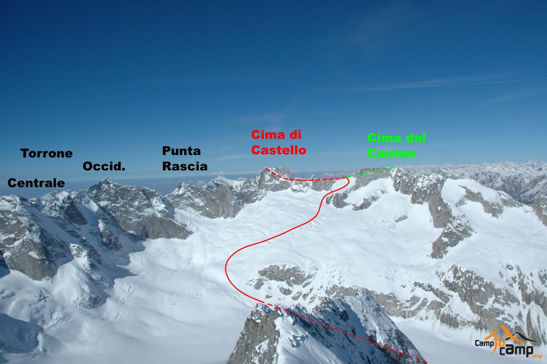 Itinéraires Cima di Castello, Cima dal Cantun, vus de la Cima di Rosso