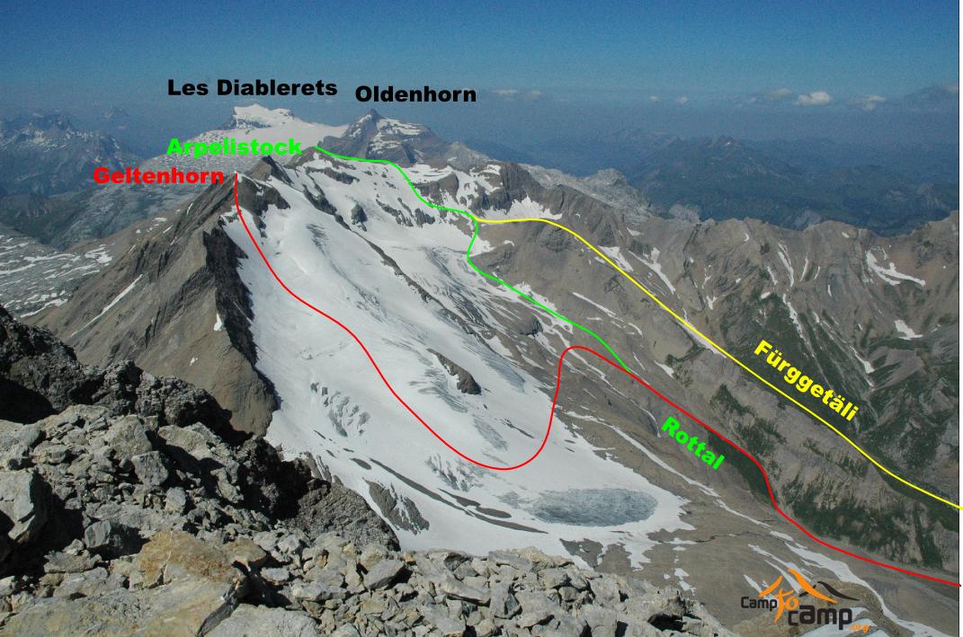 Itinéraires Geltenhorn et Arpelistock, vus depuis le Wildhorn