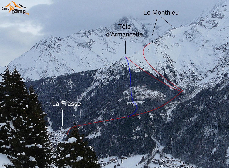 Tête d'Armancette et le Monthieu, (en bleu variante montée et descente)