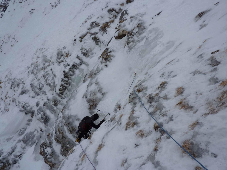 Dernière longueur avant la transition en neige de 300m.