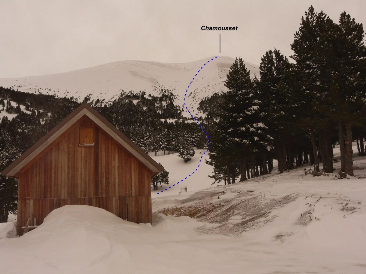 Face W de Chamousset depuis la bergerie (itinéraire à ski)