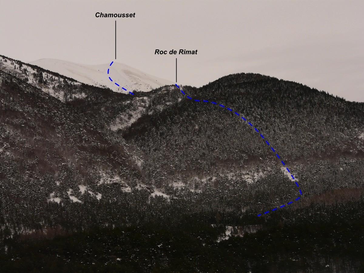Variante forestière de la face W de Chamousset (itinéraire à ski)