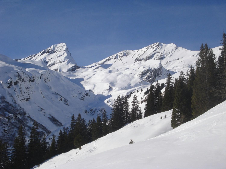 Le vallon de Pfannibach, dominé par le Schwarzhoren (2928m)