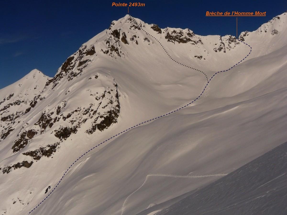 Brèche de l'Homme Mort - Versant S (itinéraire à ski)