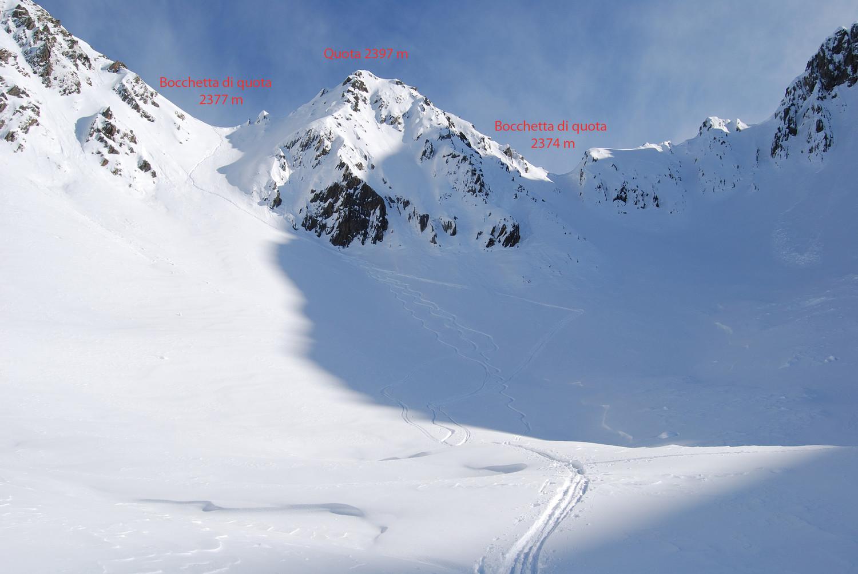 Le 2 bocchette in cima alla Valle di Cuminello.