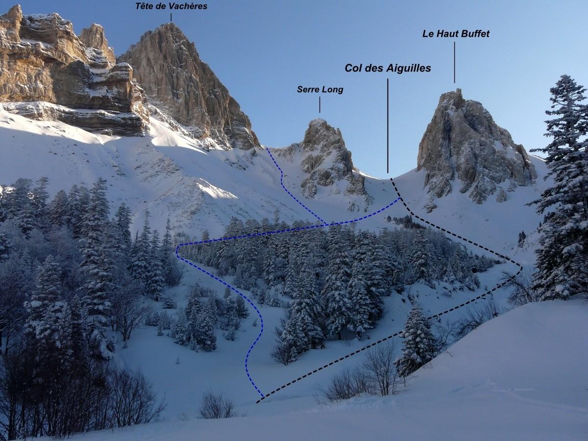 Col des Aiguilles - Versant W (itinéraire à ski)