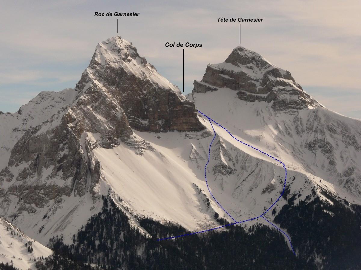 Col de Corps - versant W (itinéraire à ski)