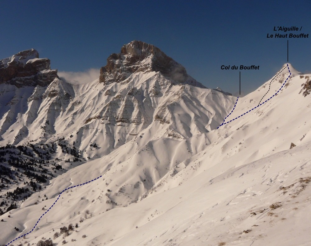 Haut Bouffet - versant SE (itinéraire à ski)