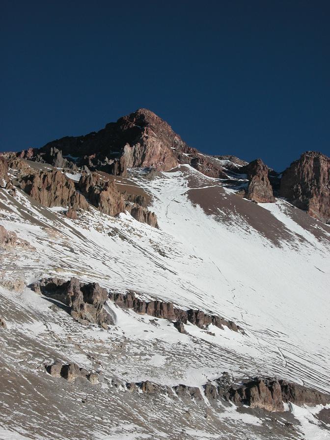 au loin les pentes sommitales de l'Aconcagua