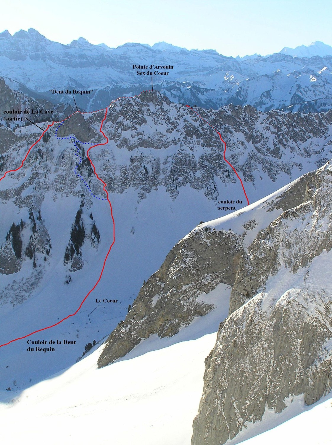 Pointe d'Arvouin, couloirs N