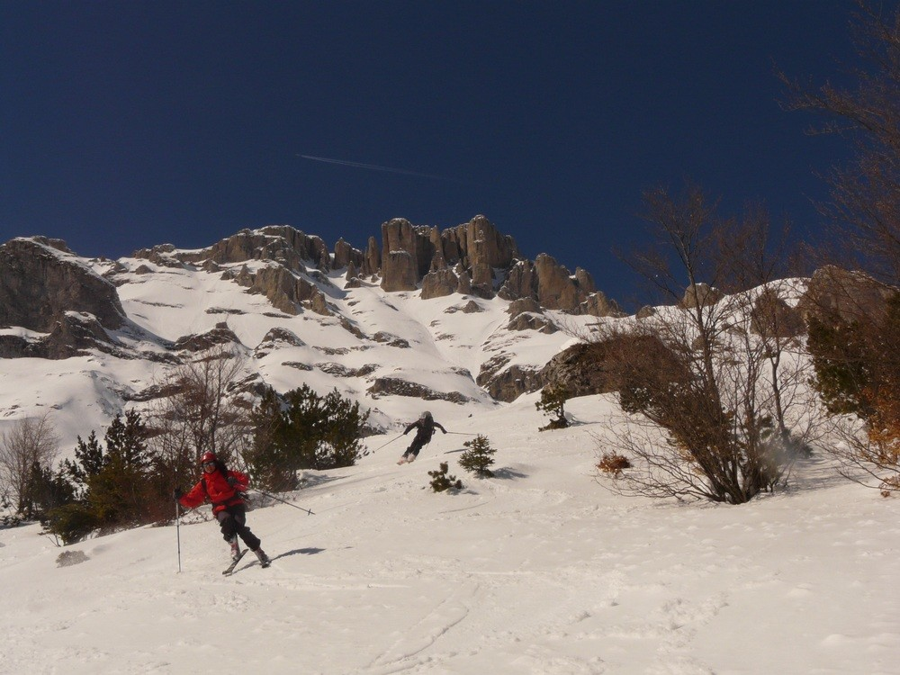 Transformed snow in the lower slopes